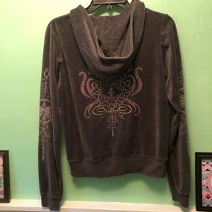 Gray Velour Hooded Jacket with Embellishments